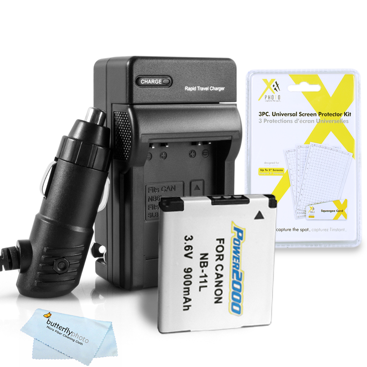 VIDPRO KIT - (QTY.1) NB-11L (ACD-402) + PT-75 CHARGER + CLOTH + SCREEN PROTECTORS