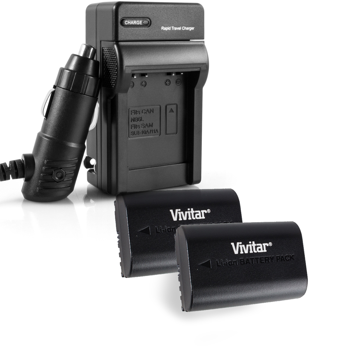 Vivitar 2 Pack Battery and Charger kit  - Vivitar VIV-CB-E6 - BATTERY FOR CANON LP-E6 (qc-207)